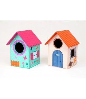 Birdhouse with stickers