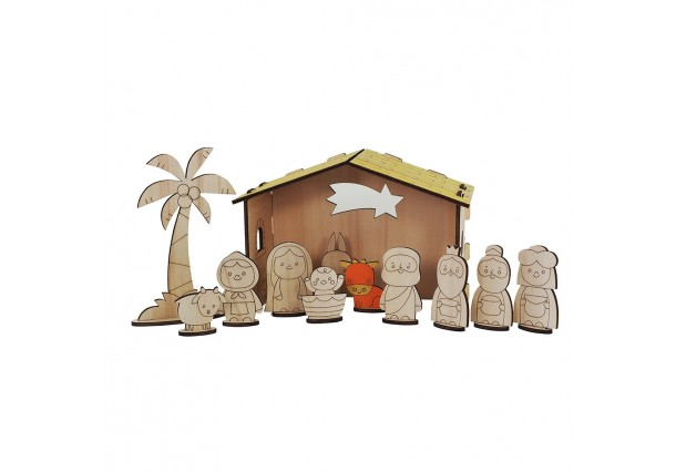 Wooden Nativity Scene to paint HAPPINESS