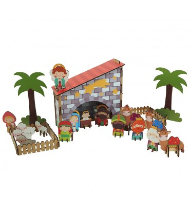 Bethlehem in 3D wood with stickers HARMONY