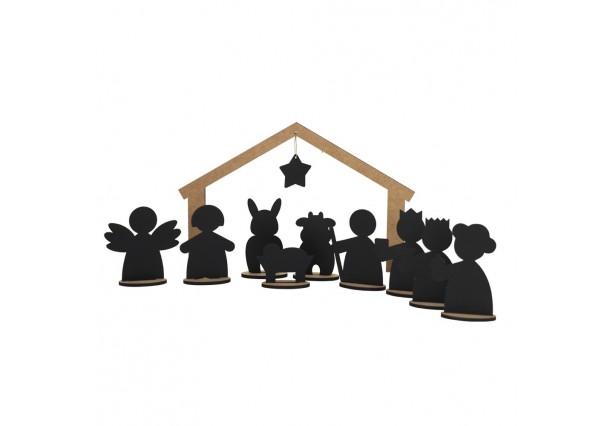 Wooden blackboard Nativity Scene LITTLE MAGIC