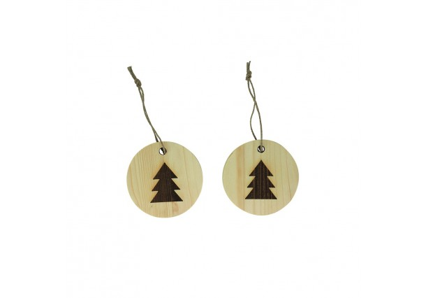 Christmas Ornaments of natural wooden
