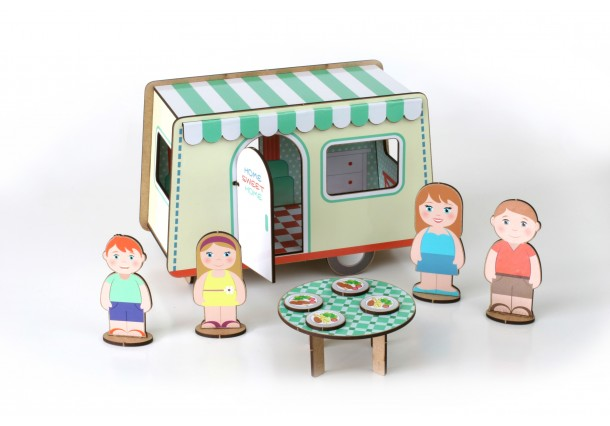 Construction  Caravan with Stickers  for handicrafts.