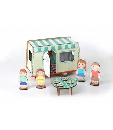 Construction Game Vintage Caravan with stickers