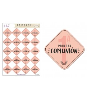 "Adhesives Labels Communion ""1st Communion"" Pink"