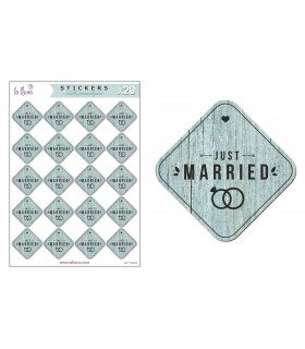 "Étiquettes  Adhésives Mariages ""Just Married"""