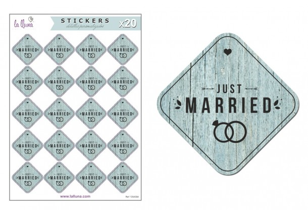 """Etiquetes Adhesives Boda """"Just Married"""""""