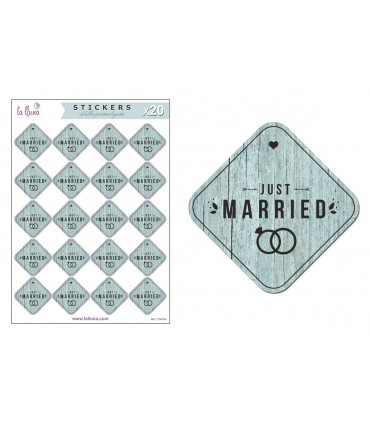 """Adhesives Labels Wedding """"Just Married"""""""