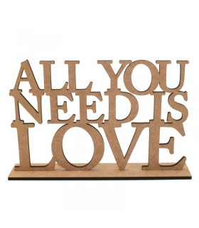 """Frase decorativa """"All you Need is Love"""""""