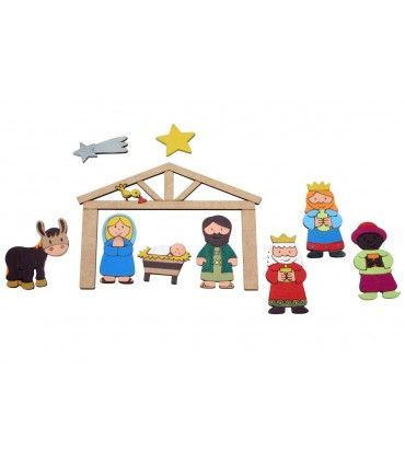 Wooden Nativity Scene to paint with magnet