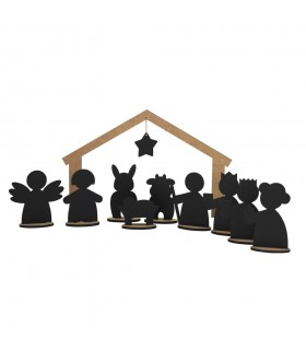 Wooden blackboard Nativity Scene LITTLE MAGIC