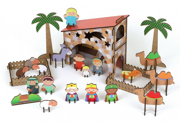 PEACE Bethlehem in 3D wood with stickers