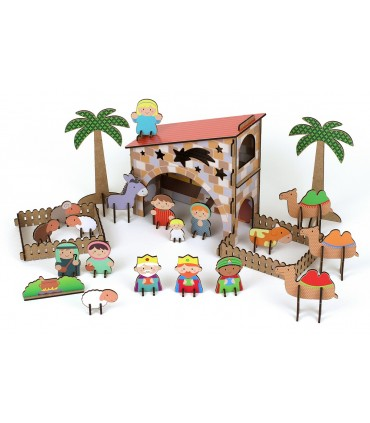 Wooden Bethlehem with stickers PEACE