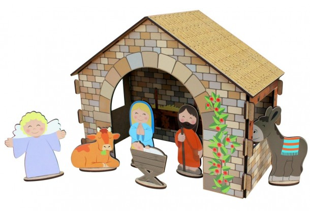 Nativity Scene Construction Kit with Stickers